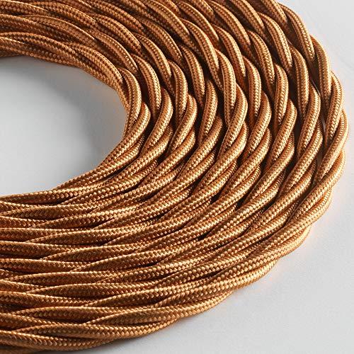 Klartext - Cavo tessile trecciato LUMIÈRE per illuminazione, 3x0,75mm, Bronzo, 3mt.|Attenzione: cavo terra incluso! Massima sicurezza anti scossa!