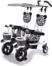LiuQ Cochecitos de bebé Plegables Cochecito Doble Triciclo Bicicleta de bebé Doble Bicicleta Cinco Modos Gratis con 3 Puntos Protección de Seguridad Carro de bebé Diseño Ligero (Color : A)