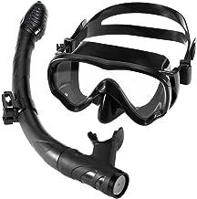 Roeam Scuba Dive snorkelset, duikbril voor volwassenen, lekvrij siliconen, met gehard glas