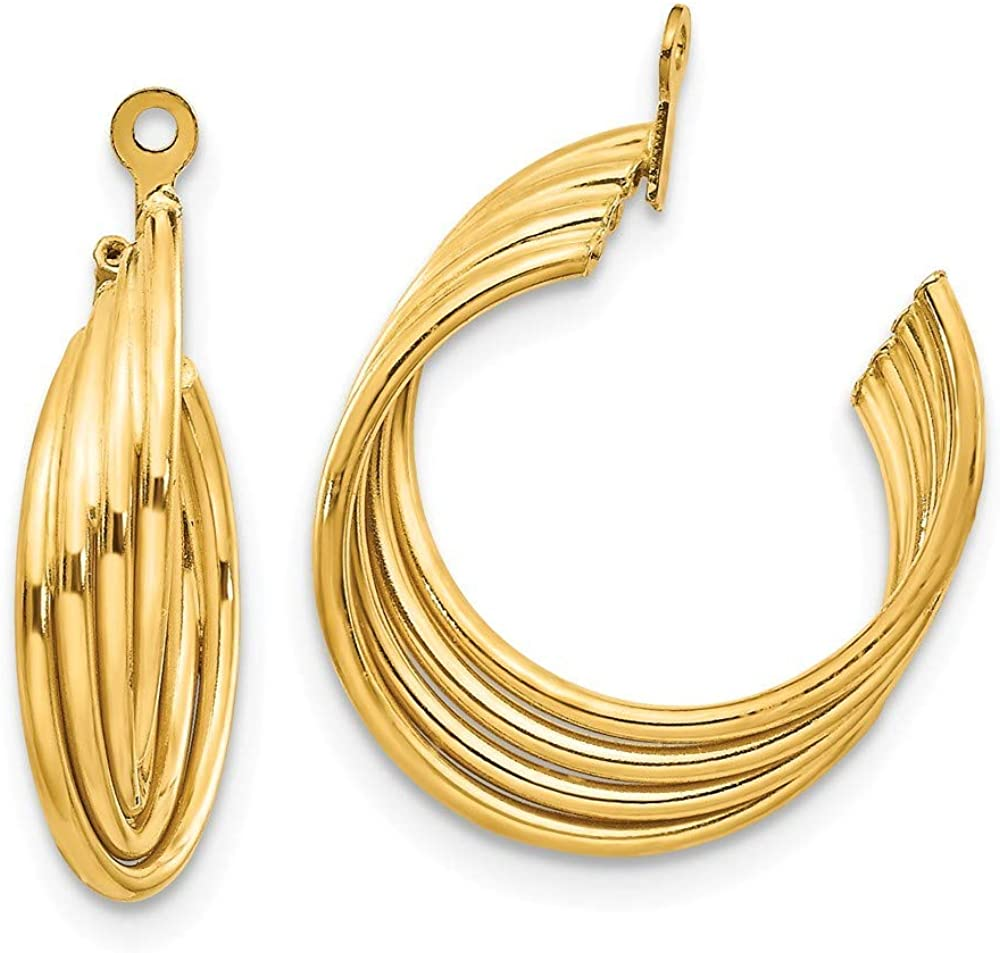 Roy Rose Jewelry 14K Yellow Gold Polished Hoop Earring Jackets 19mm length