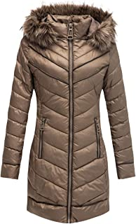 Bellivera Puffer Jacket Women, Lightweight Padding Bubble Hooded Coat with Fur Collar Warmth Outerwear for Spring Fall Winter