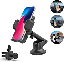 "Cell Car Phone Holder, 3-in-1 Universal Phone Mount for Car Dashboard Windshield or Air Vent, for iPhone 11 Pro Xs Max XR X 8 Plus 7 6 6S Samsung Galaxy S10 5G S10+ S10e S9 LG Pixel & All 4-7"" Phones"