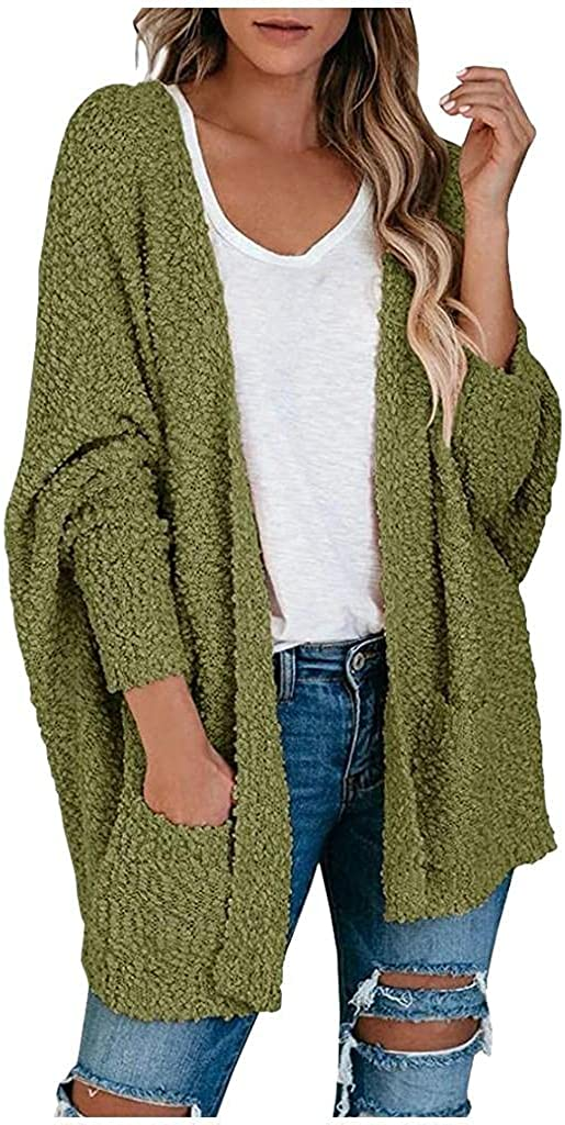 LEIYAN Womens Waffle Knit Batwing Long Sleeve Sweaters Jackets Ribbed Open Front Cardigan Jumpers Outerwear with Pockets