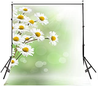 LYLY COUNTY 5×7ft Polyester Photo Studio Props Backdrops Green Baby Children Theme Little White Daisy Photo Photography Background BG253