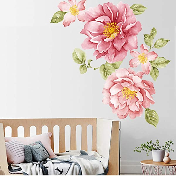 Peony Flowers Wall Sticker Quaanti Floral Peonies Wall Decal Peel And Stick Removable DIY Wall Art Pink Rose Flower Mural Nursery Decals Kids Room Home Decor Gift Wedding Praty Decoration Red
