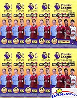 2020/21 Panini Adrenalyn XL English Premier League Soccer Collection of TEN(10) Factory Sealed Foil Packs with 60 Cards! L...