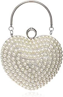 Women's Heart-Shaped Evening Bag, Clutch Bag, Chain Messenger Bag, Suitable for Wedding, Banquet, Dating (Color : White)