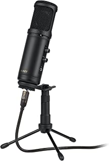 AUKEY Condenser Microphone for Recording, USB Cardioid Microphone with 3.5mm Headphone Jack, and Tripod Stand for PC and Computer