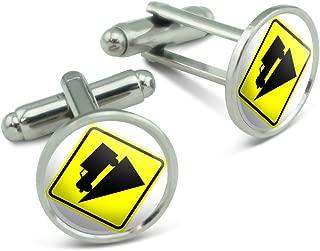 Steep Downhill Grade Ahead Basic Yellow Sign Men's Cufflinks Cuff Links Set