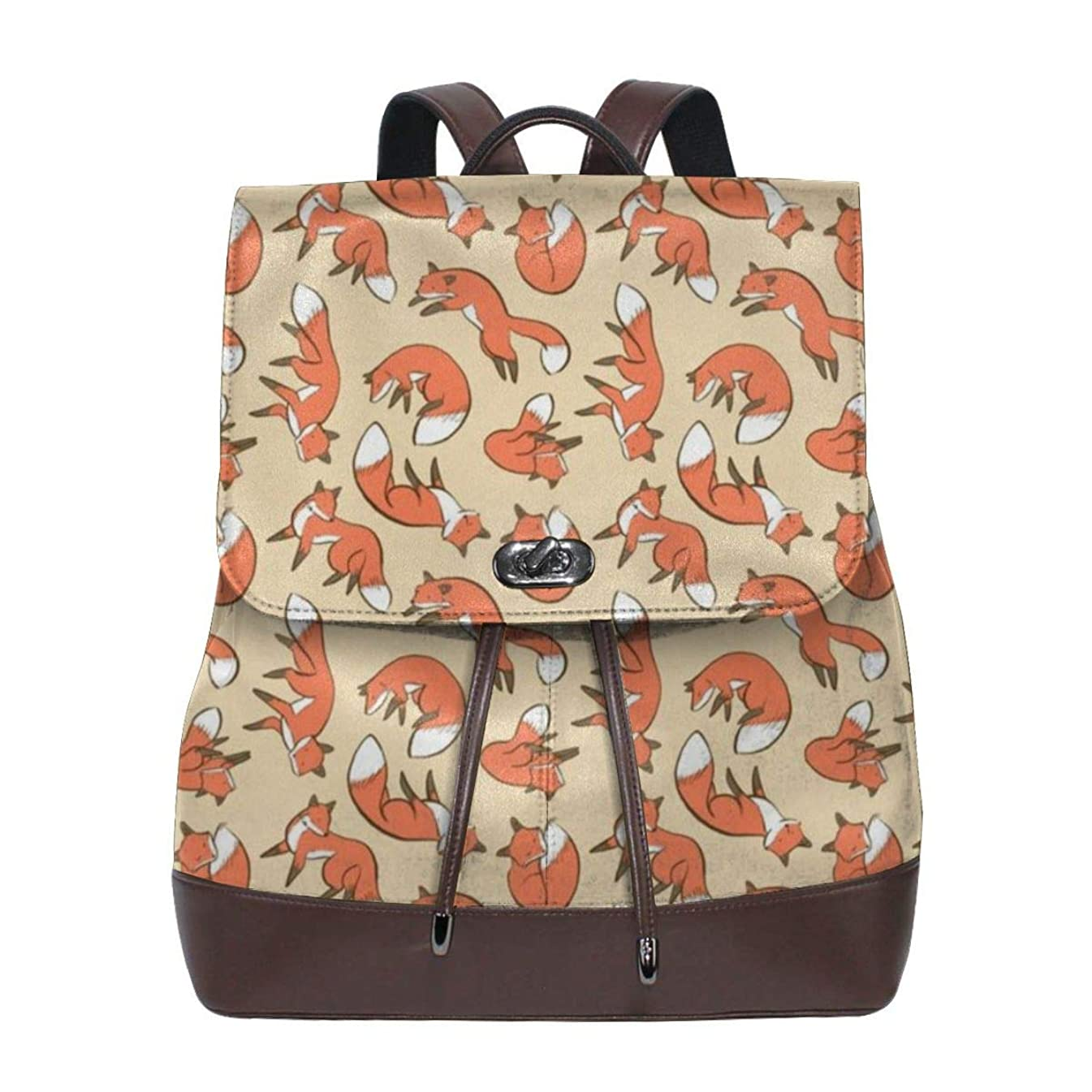 Beautiful Fox Womens Leather Backpack Vintage Laptop Backpack Travel Daypack College School Bookbag For Women Girls & Students