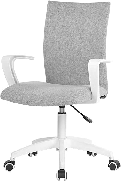 LIANFENG Office Task Chair With Armrest And Adjustable Height Home Computer Desk Chair For Work Space White Grey