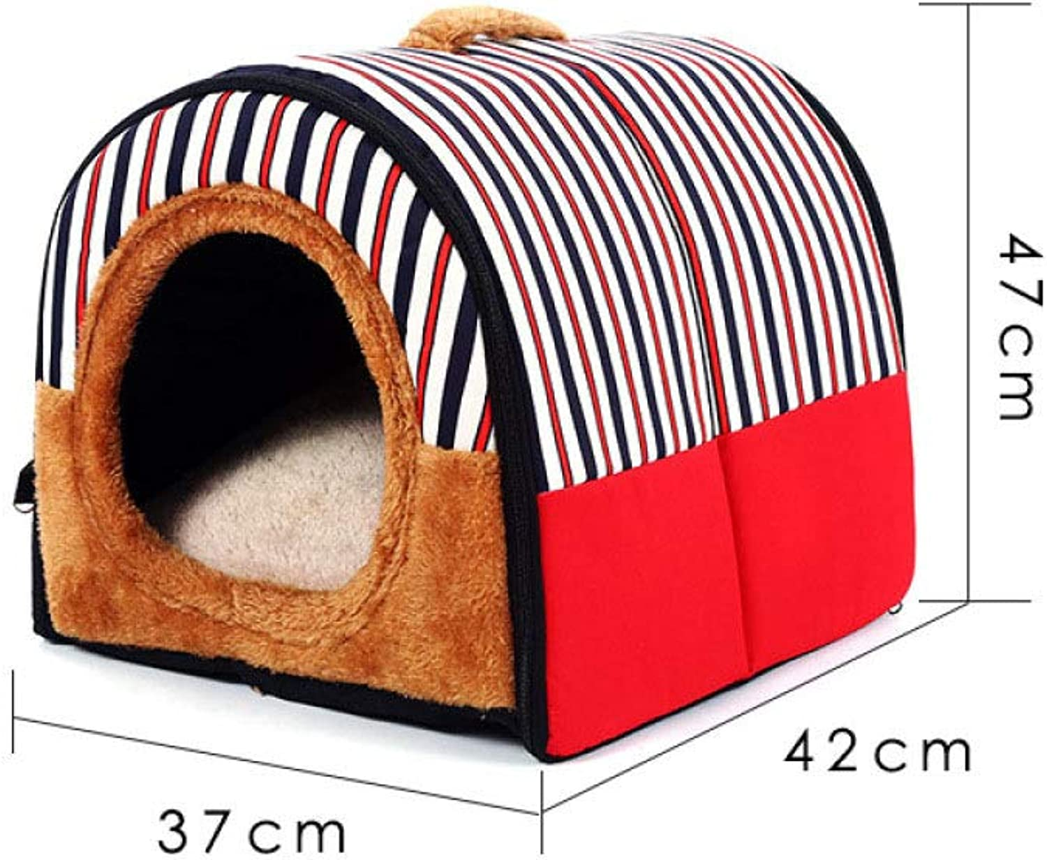 JIAQING Pet Kennel Removable And Washable Four Seasons Universal golden Retriever Small Medium Dog Pet Nest Warm Cloth Cat Litter,Red(42  37  47CM)