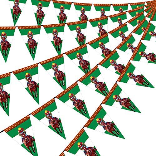 Pancarta de Carreras de Caballos Guirnalda de Serpentina de Caballo Decoración de Banner de Banderín Triángulo para Tema de Carreras de Caballos Cumpleaños Baby Shower Fiesta, 5 Piezas