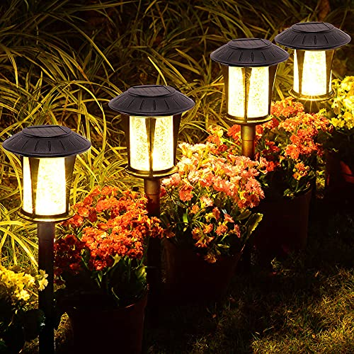 LANSGARINE 6 Pack Glass Solar Lights Pathway Outdoor,Newest Design,Bright Garden Stake Lights,Waterproof Wireless Sun Powered Landscape Lighting for Yard Patio Walkway Lawn(Black,Warm White)
