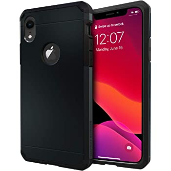 -Clear Support Wireless Charging E-Began Case for iPhone XR Shockproof Impact Resist Durable Case 6.1 inch 2018 Full-Body Protective Rugged Matte Bumper Cover with Built-in Screen Protector
