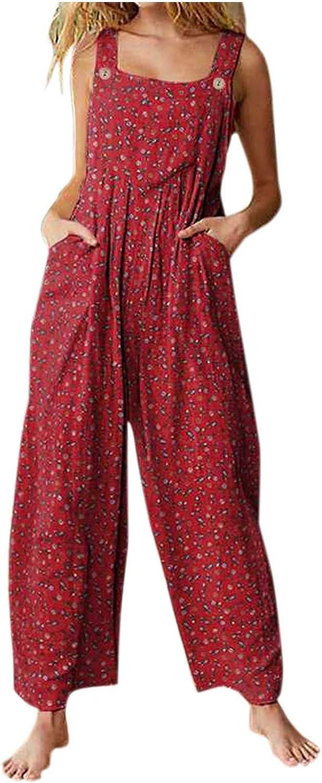 Pyhlmscde Women Bib Overalls Baggy Jumpsuits One Piece Romper Playsuit Bohemian Style Wide Leg Summer Casual Long Pants