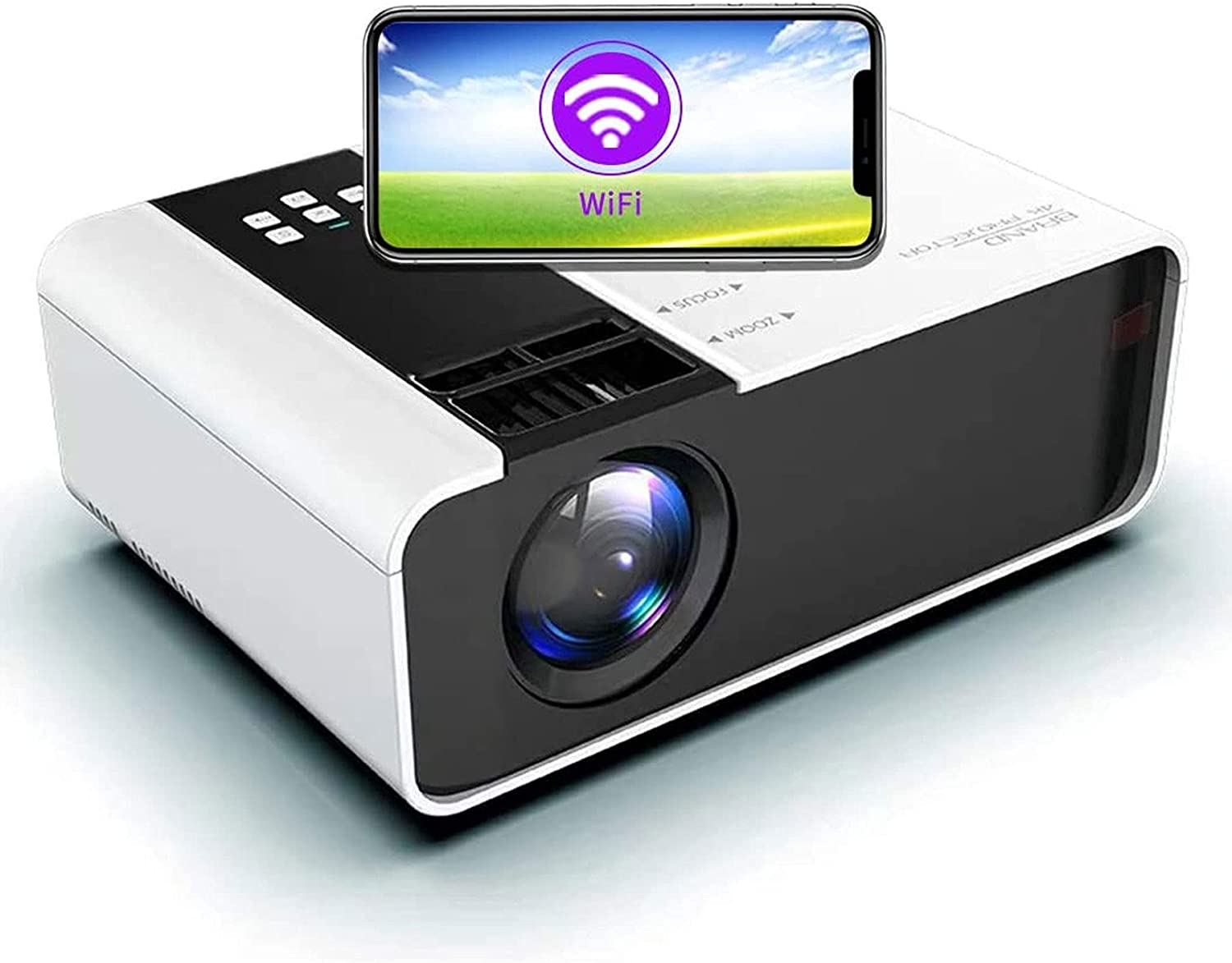 Mini LED Projector Portable -WiFi Video Projectors 1080P Full HD for Smartphone Wireless Projector HDMI 75000 Hours Multimedia 4K Home Projector Office Theater Movie