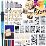 Catcrafter 116pcs Wood Burning Kit DIY Tool Set - Soldering Iron Arts and Crafts Kits Stencils Pen Carving Color Pencils with Carving Knife Show Display Case Hobbies for Teenagers Adults Women Men