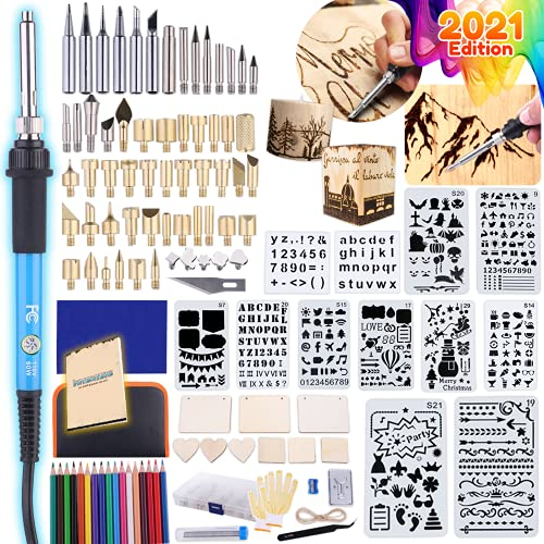 Catcrafter 116pcs Wood Burning Kit - DIY Pyrography Wood Engraver Accessories Kit for Adults Wood Projects Soldering Iron Arts and Crafts Kits Stencils Pen Craving Color Pencils with Carving Knife