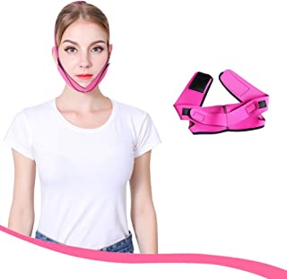 Auch Lifting Firming Face Care Mask, Bandag Belt V-line Facial Slimming Shaping Mask, V-Line Face Shapes Chin Cheek Lift Up Anti Wrinkle Lifting Belt Face Massage Tool - Rose Red