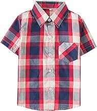 SANGTREE Short Sleeve Plaid Shirt for Boys 2 Years-14 Years