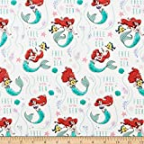 Disney Princess Ariel Free As The Sea White Quilt Fabric By The Yard