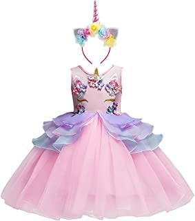 FYMNSI Baby Girls Toddler Unicorn Dress Sleeveless Princess Tulle Dress Wedding Birthday Party Gown Performance Costume 1-13 Years