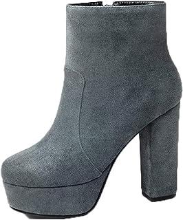 Dames ronde neus enkellaarzen platform suède hoge hakken herfst winter blokhak halfhoge kuitlaarzen
