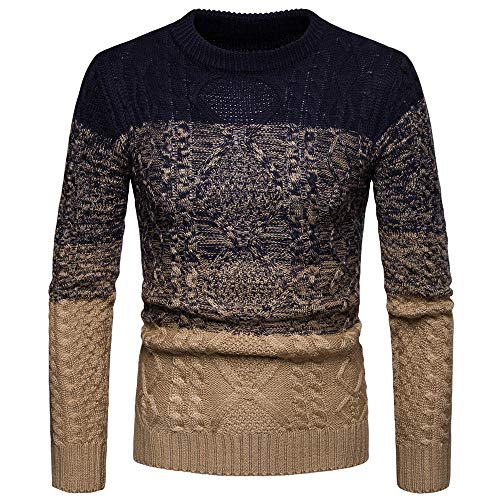PASATO Mens Gradient Color Winter Pullover Knitted Top Striped Sweater Outwear Blouse (Black,XXL)