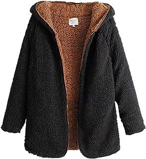 bc04bf94159 ZKOO Abrigo de Mujer Fleece Chaqueta con Capucha Espesar Suelto Prendas de  Abrigo Cardigan Parkas Calentar