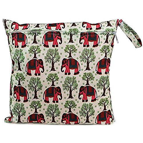 Little Sporter Baby Sac à langer sac à langer imperméable avec fermeture Éclair réutilisable Sac à langer Snap Mort multicolores motif éléphant