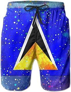YILISA Saint Lucia Flag Men's Beach Shorts Trunks Quick Dry Summer with Mesh Lining Pockets