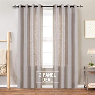 Burlap Linen Textured Curtains for Living Room 84 inch Length Grommet Top Light Filtering Flax Window Curtain Panels for Bedroom 2 Panels Greyish Beige