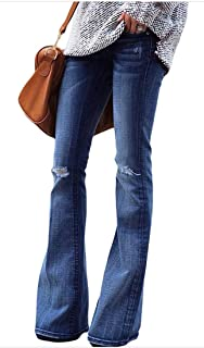 db06fda3cfa9 Women s Regular Fit Washed High Waist Stretch Flared Bootcut Jeans