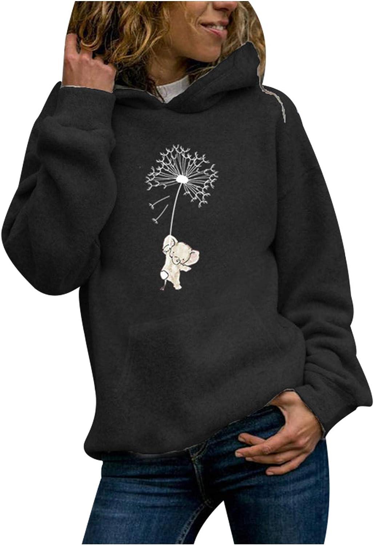 SALIFUN Womens Hoodies Sweatshirts,Teen Girls Casual Long Sleeve Pullover Tops Funny Graphic Hooded Sweatshirt Outwear