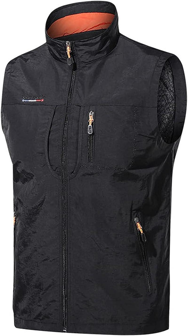 PEHMEA Men's Lightweight Multi-Pockets Softshell Vest Sleeveless Zip Up Work Fishing Travel Safari Waistcoat Jacket