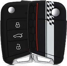 kwmobile Funda Compatible con Llave de 3 Botones para Coche VW Golf 7 MK7 - Carcasa Protectora Suave de Silicona - Bandera a Cuadros