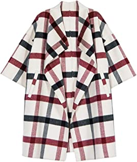 Woolen coat Double-sided water ripple loose leather buckle plaid shawl coat Winter warm Jacket Large Size Women's Jacket thick double-sided coat