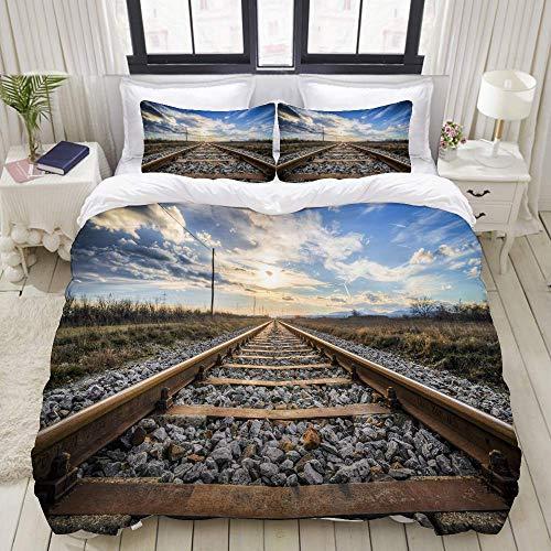 1203 juegos de cama con impresión 3D con 2 fundas de almohada,tren de motor de vapor en la pista ferroviaria,Juego de cama de 3 piezas con funda de edredón juegos de tamaño super king