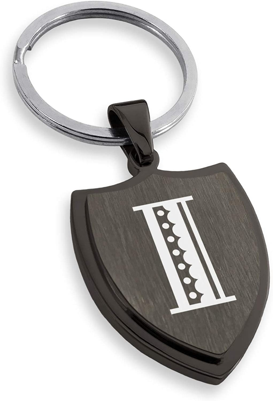 Tioneer Stainless Steel Letter I Initial Metro Retro Monogram Shield Keychain Keyring