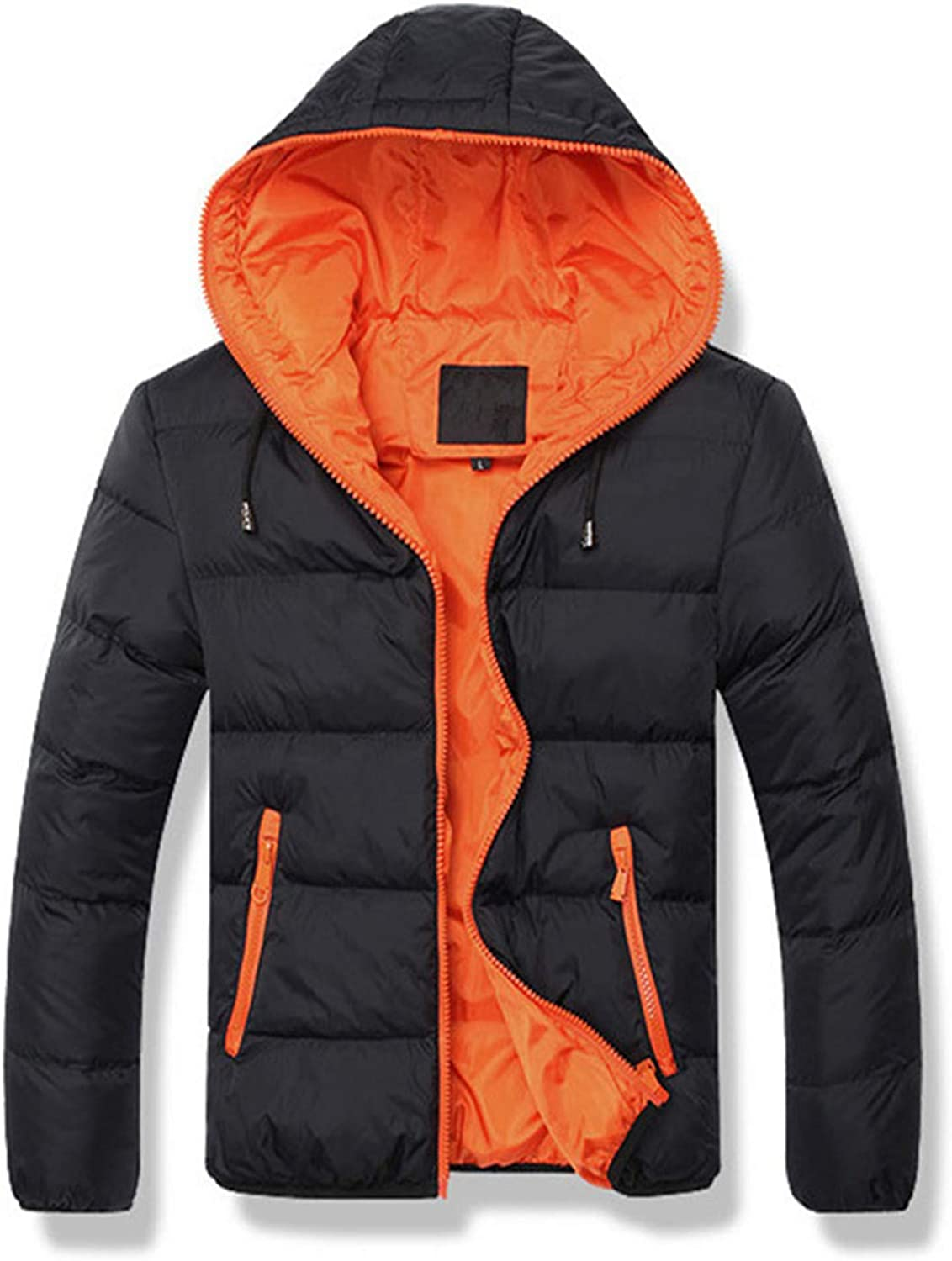 Men's Winter Jacket,Thicken Quilted Hooded Padded Down Alternative Puffer Coat Outerwear Overcoat (Orange,3X-Large)