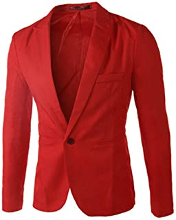 Blazer Mens Suit,Solid Blazer Jacket Slim One Button Notched Turn-Down Collar Single Breasted Coat Waistcoat Fashion Class...