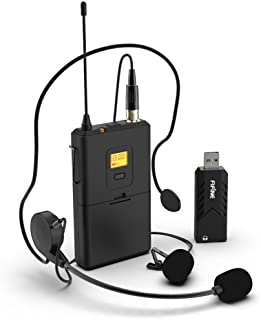Wireless Microphones for Computer,FIFINE USB Wireless Microphone System for PC & Mac,Headset UHF Wireless System with USB ...