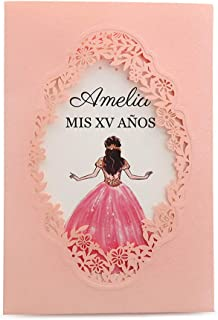 Doris Home 250 GSM 5 x7.3 inch Laser Cut Wedding Invitations Cards with Envelopes and Blank Inner Sheets for Quinceañera Dinner Invitations, Wedding Bridal Shower Engagement CW0015 (Pink, 50pcs Blank)