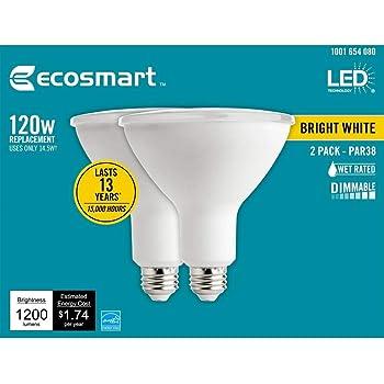Ecosmart 120w Equivalent Daylight Par38 Dimmable Led Flood Light Bulb 2 Pack Amazon Com