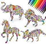Rompecabezas de Colorear 3D, Juego De Juguetes De Pintura Educativo Juguetes Educativos para Niños de 6-12 Años,Regalo Navidad de Cumpleaño con 4 Rompecabezas de para Niños Niñas