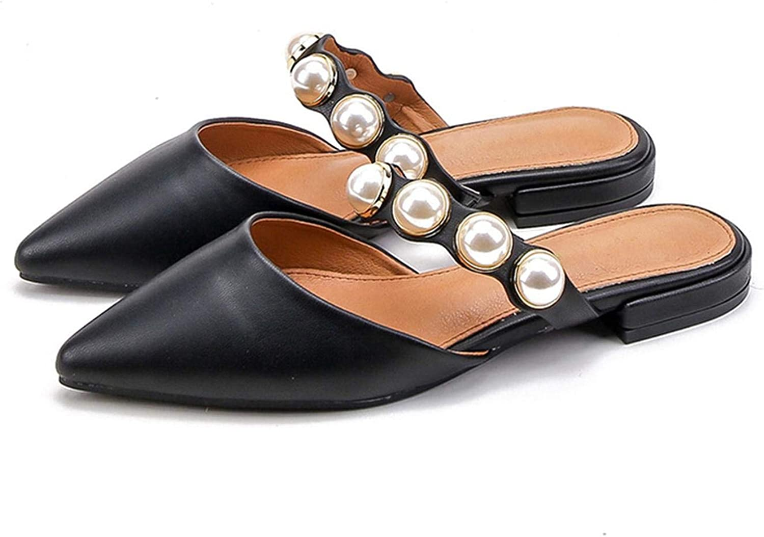 FAT BABY Pearl Flats shoes for Women Pointed Toe Elegant Women Mules Slip on Flat shoes for Women SWA0099