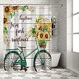 ZundL Home Farm Fresh Sonnenblumen & Fahrrad Duschvorhänge für Badezimmer Dekor Retro Holz Plank Polyester Stoff Wasserdicht Badvorhang Set mit Haken 72