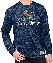 Elite Fan Shop Notre Dame Fighting Irish Retro Long Sleeve Tshirt Navy - Medium