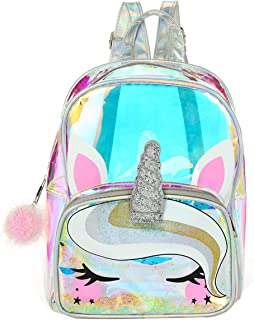 Holographic Clear Unicorn Girl Backpack Purse See-through Casual Daypack Satchel Travel Shoulder Bag
